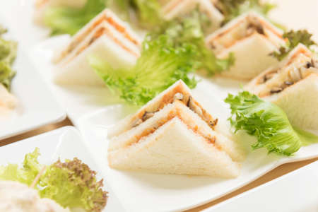 Freshly made of mixed sandwich triangles on wooden background. Stock Photo