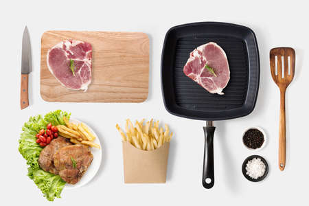 raw beef: Concept of mockup bbq steak and french fries set on white background. Stock Photo