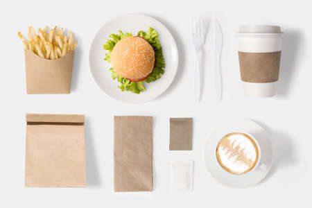 fastfood: Design concept of mock up burger and coffee set on white background.