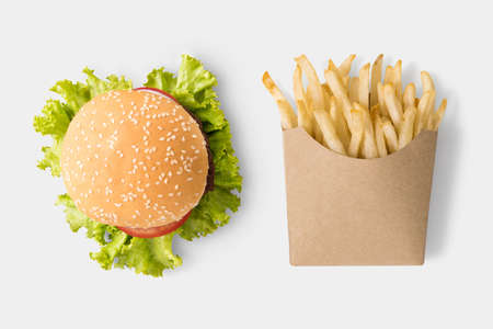 burgers: Concept of mock up burger and french fries on white background. Stock Photo