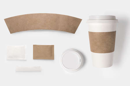 Design concept of mockup paper, sugar, coffee creamer, toothpick, lid and coffee cup set on white background.