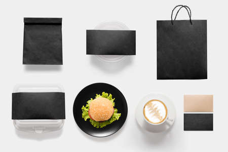 break fast: Design concept of mockup burger and coffee break time set isolated on white background