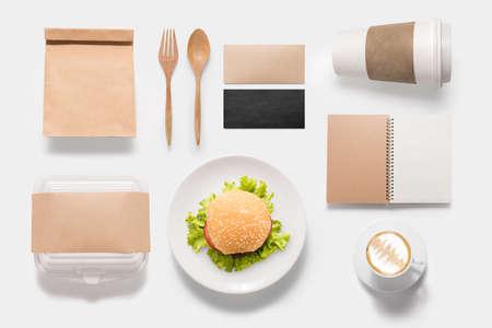 marca libros: Concepto de diseño de la marca del conjunto de maqueta hamburguesa aislado sobre fondo blanco.