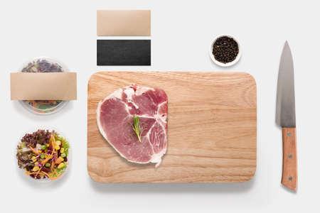 vegetables on white: Design concept of mockup bbq steak set isolated on white background. Stock Photo