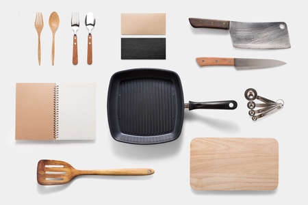 Design concept of mockup arious kitchenware utensils set on white background.
