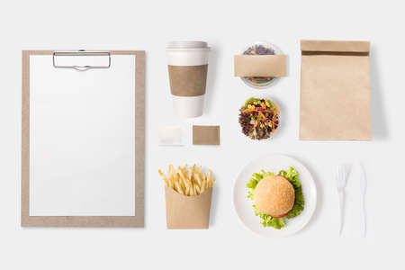 hamburger: Design concept of mockup burger, salad, coffee cup, french fries set isolated on white background.