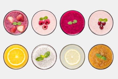 fruit shake: Design concept of mockup fruit smoothie and fruit juice set isolated on white background. Stock Photo