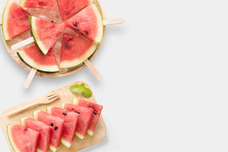 Design of mockup healthy watermelon and watermelon ice cream set isolated on white background.  Copyspace for your text. Clipping Path included on white background.