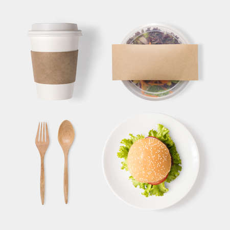 set up: Design concept of mockup burger, salad and coffee set isolated on white background. Clipping Path included isolated on white background.