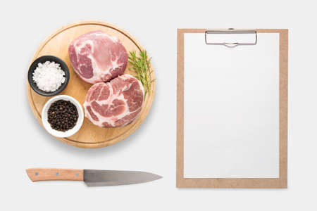 clip board: Design concept of mockup clip board and pork on cutting board set isolated on white background. Clipping Path included isolated on white background.