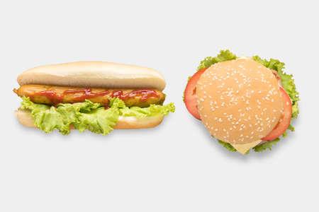 above: Mockup hot dogs and hamburgers set isolated on white background. Stock Photo