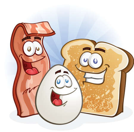 fried: Breakfast Cartoon Characters Illustration