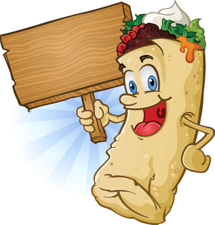 ground beef: Burrito Cartoon Character Holding a Wooden Sign