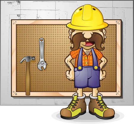 chest wall: Construction Worker Cartoon Character Illustration