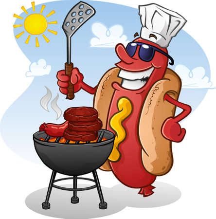 bratwurst: Hot Dog Cartoon Character Grilling Burgers