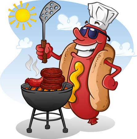 grill meat: Hot personnage de dessin anim� de chien Griller Burgers