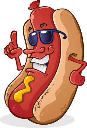 Hot Dog Cartoon Character Wearing Sunglasses