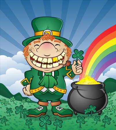 Leprechaun Cartoon Character with a Pot of Gold Illustration