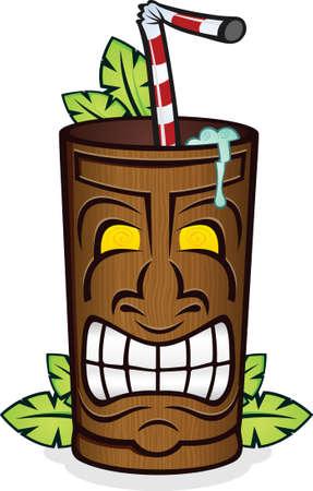 Tropical Tiki Frozen Drink Illustration