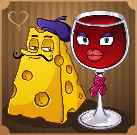 mozzarelle e formaggi: Vino e formaggio Cartoon Characters