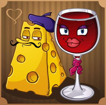 Wijn en Kaas Cartoon Characters Stock Illustratie