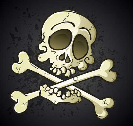 Skull and Crossbones Jolly Roger Cartoon Character Illustration