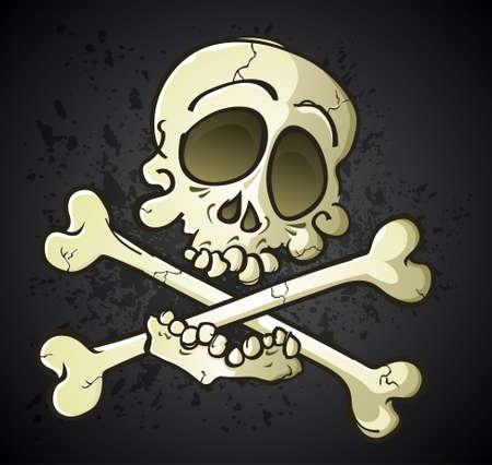 crunches: Skull and Crossbones Jolly Roger Cartoon Character Illustration