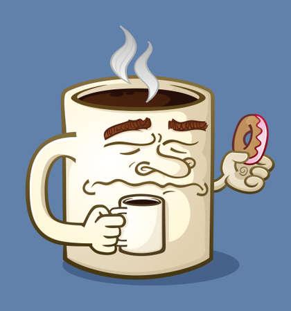 Grumpy Coffee Cartoon Character Eating a Donut Illustration
