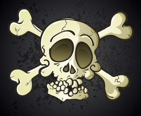 Skull and Crossbones Jolly Roger Cartoon Character Stock Vector - 20992148