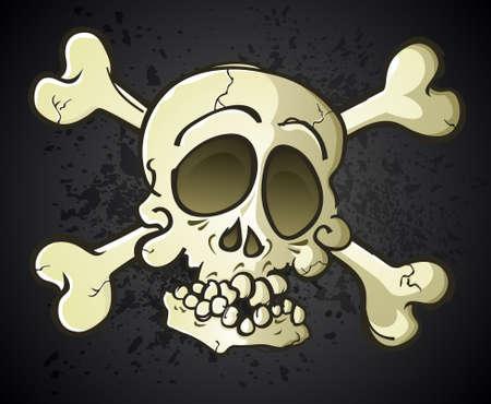 eye sockets: Skull and Crossbones Jolly Roger Cartoon Character Illustration