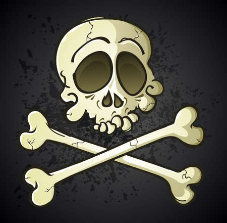 Skull and Crossbones Jolly Roger Cartoon Character Stock Vector - 20992149