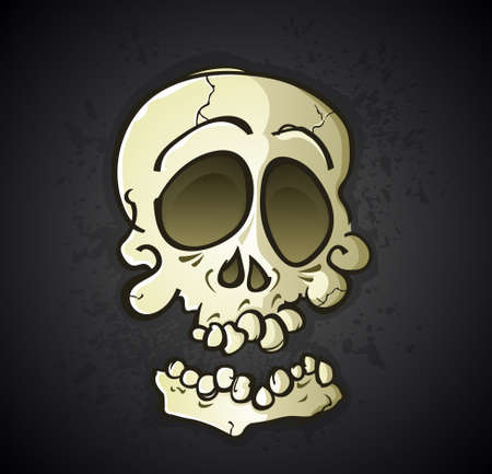 Skull Cartoon Character on a Black Splatter Background Illustration