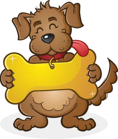 dog tag: Dog with Giant Collar Tag Sign Cartoon Character Illustration