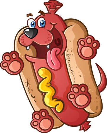 mustard: Hot Dog Pet Cartoon Character