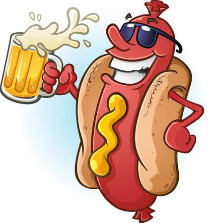 Cartoon Hot Dog na sobie okulary i popijając zimne piwo