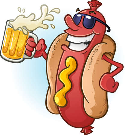 Hot Dog Cartoon Wearing Sunglasses and Drinking Cold Beer Illustration