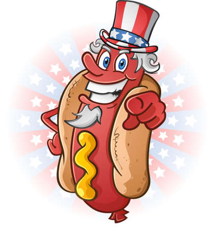 hot dog bun: Uncle Sam Hot Dog Cartoon Character on The Fourth of July