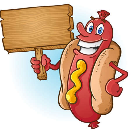 Hot Dog Cartoon Holding a Blank Wooden Sign