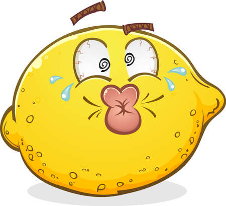 Sour Pucker Face Lemon Cartoon Character