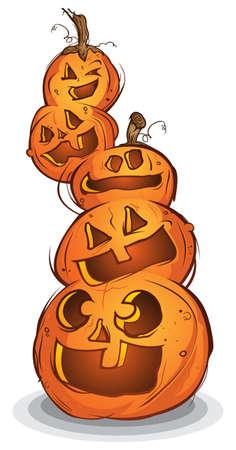 Pile of Carved Halloween Pumpkins Cartoon Characters Illustration