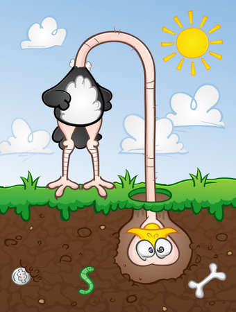 Ostrich Head In The Ground Cartoon Character Vector