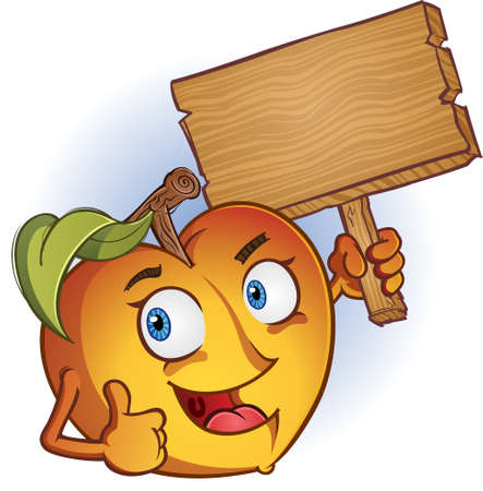 nectarine: Peach Cartoon Character Holding A Wooden Sign
