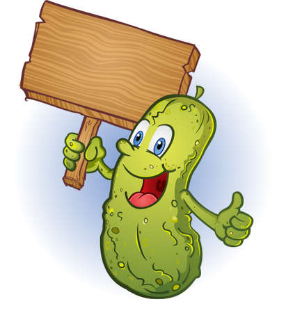 cucumber: Pickle Holding A Sign Cartoon Character