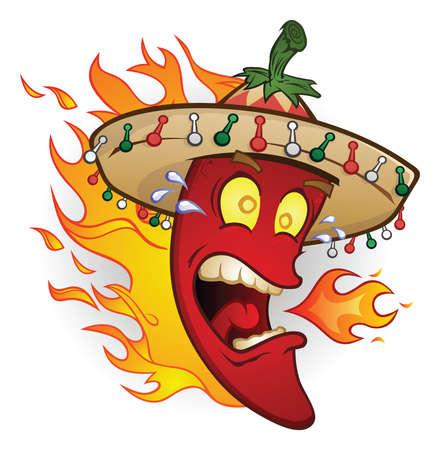 Hot Chili Pepper Caractère Cartoon Porter un Sombrero Vecteurs