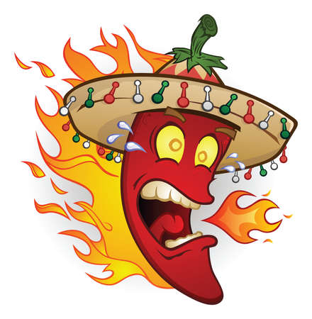 Hot Chili Pepper Cartoon Character Wearing a Sombrero