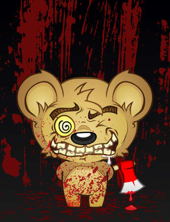 murderer:  Bloody Murder Teddy Bear Cartoon Character with a Psycho Face and a Hatchet