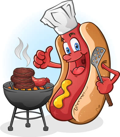 bratwurst: Hot Dog Cartoon Character Grilling Burgers Outside Illustration
