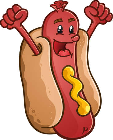 hotdog: Hot Dog Cartoon Character With Emblem and Illustrated Lettering