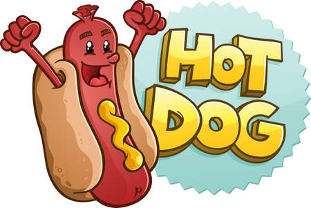 ballpark: Hot Dog Cartoon Character Celebrating With Excitement