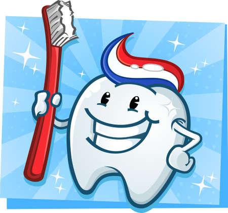 Dental Tooth Maskottchen Zeichentrickfigur mit Zahnbürste Standard-Bild - 23117001